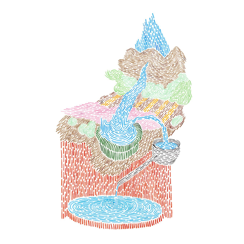 Ruissellement, dessin, Isabelle Daëron